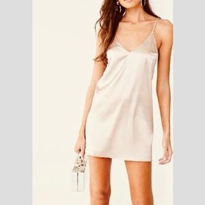 Love J Champagne Satin Slip Dress - Size S